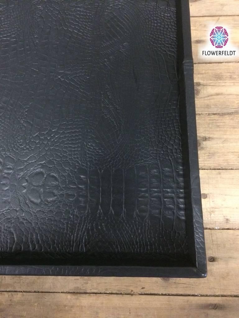 Pot en Vaas Leather tray croco black XL - 80 x 80 cm