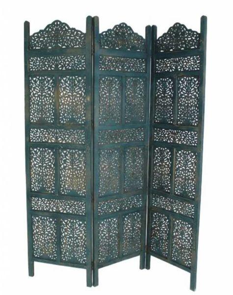 Wooden screen Marrakech blue - H180 cm