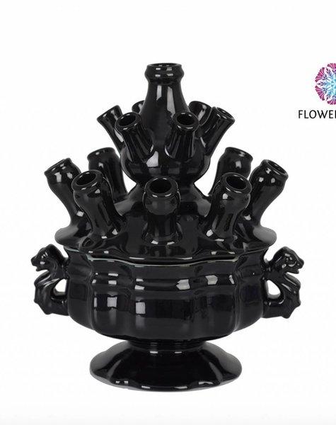 Zwarte tulpenvaas - H33 cm