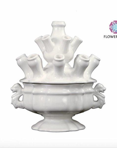 Witte tulpenvaas - H33 cm