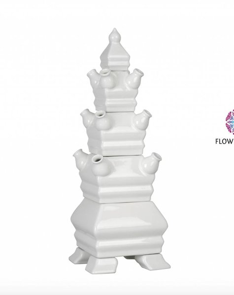 White pyramid vase - H48 cm
