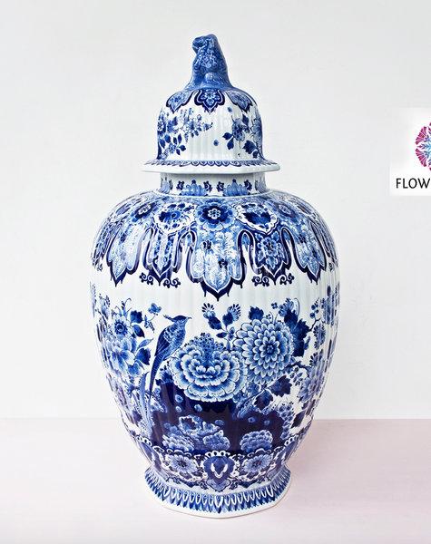 Delft Blue vase with lid - H77 cm