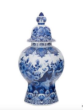 Delfter Blau vase mit Deckel