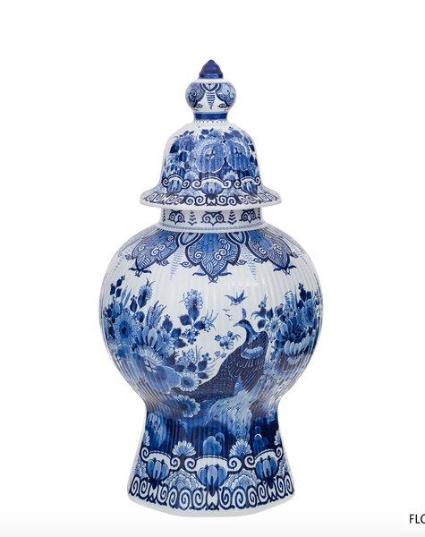Delfts blauw pot met deksel - H61,5 cm