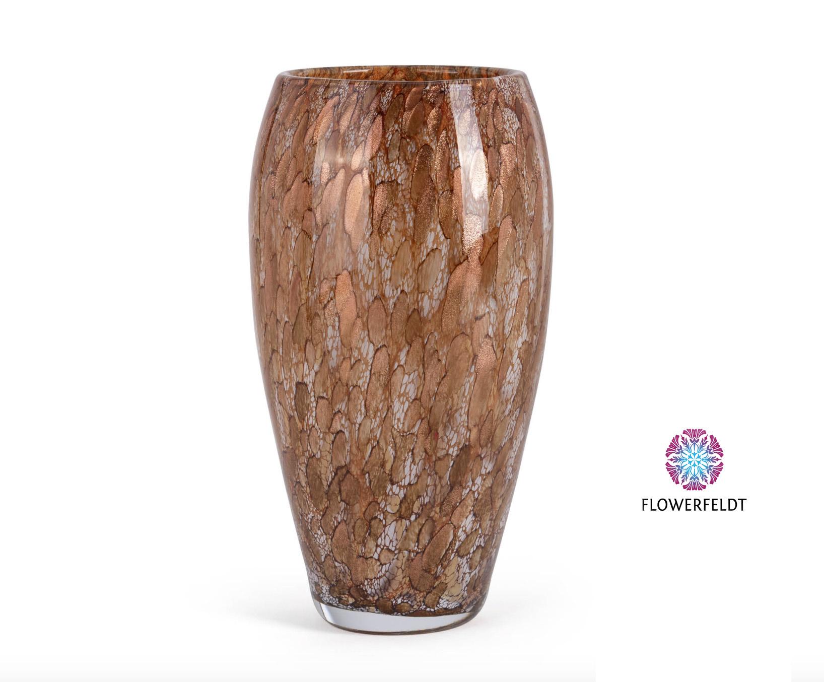 Fidrio Glasvase oval gold - H30 cm