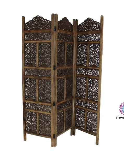 Wooden screen Marrakech brown - H180 cm