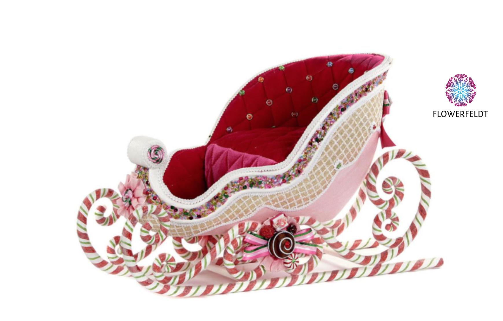 Goodwill Kerst slee pink - H37 cm