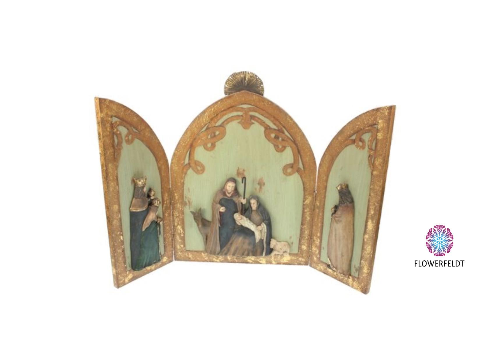 Goodwill Nativity scene triptych - H60,5x3,5x42cm