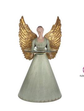 Angel figurine with glass plate