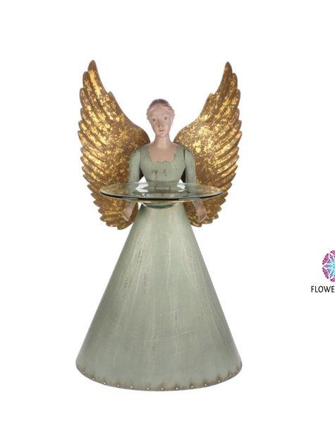 Engel figuur met glazen schaal - H75 cm