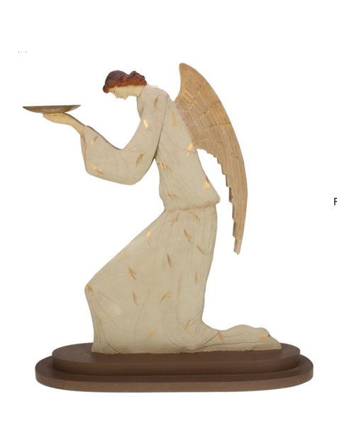 Christmas angel with plate - H54,5 cm