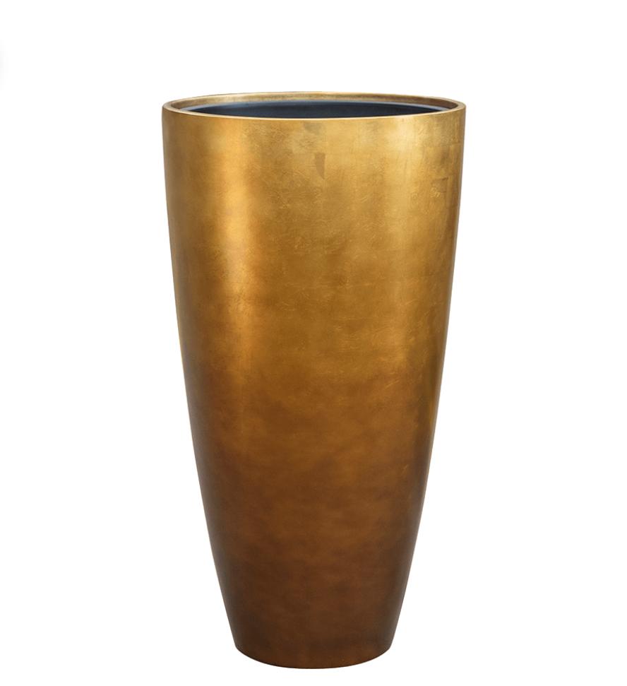 Golden flower pot Macau - H90 cm