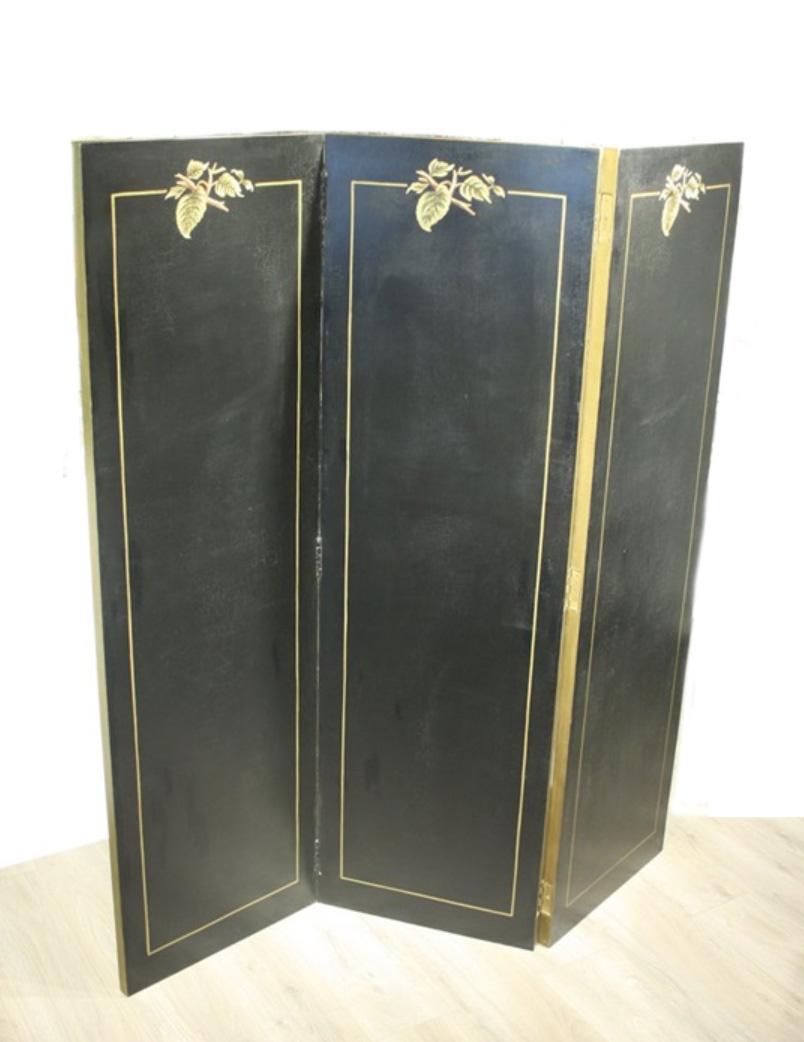 Black folding screen Sakura - 160x150x2,5 cm