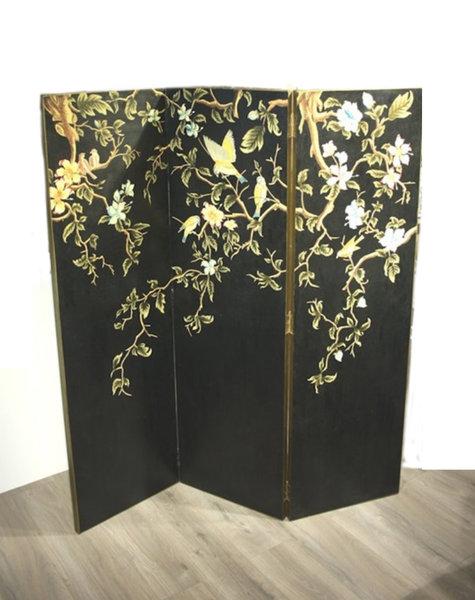 Zimmerschirm schwarz Sakura - 160x150x2,5 cm
