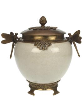 White crackle pot