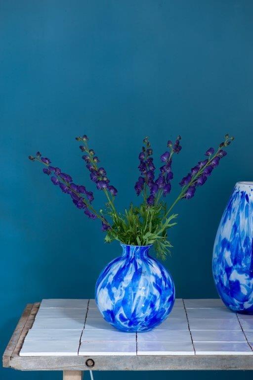 Fidrio Ball vase delfts blue - D23 cm