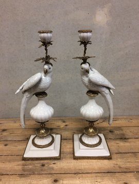Parrot candle holder white