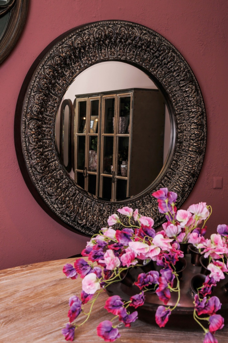 Wood mirror Rose - D137 cm