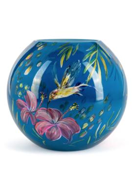 Fidrio Handbemalte Vase Kolibri