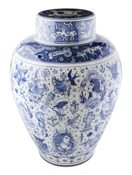 Porcelain vase tattoo art