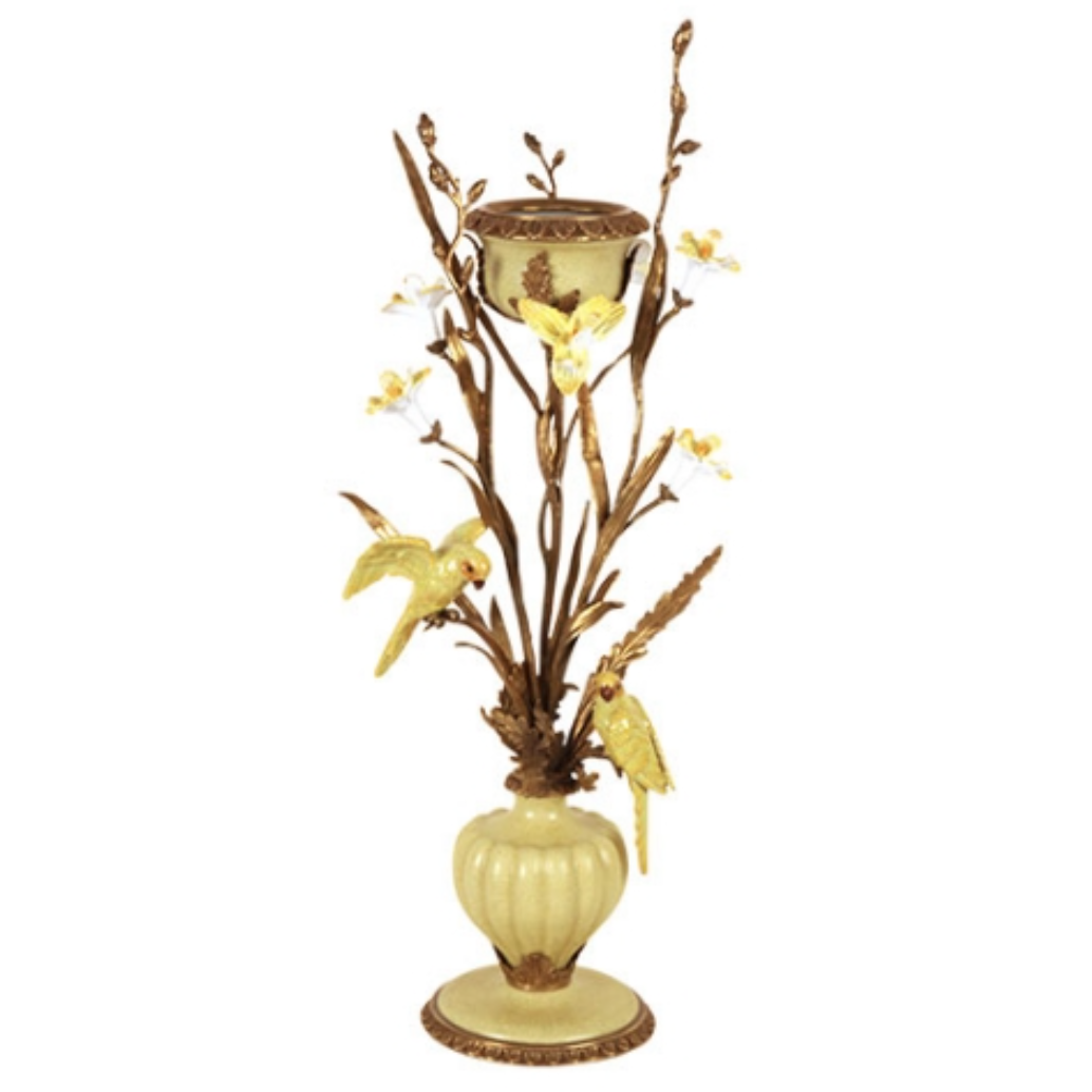 Candle holder Yellow Parrots - H62 cm