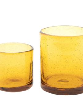 DutZ Glazen theelicht amber