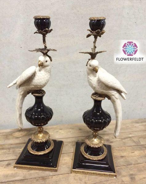 Kerzenhalter Papagei schwarz weiß - H48 cm