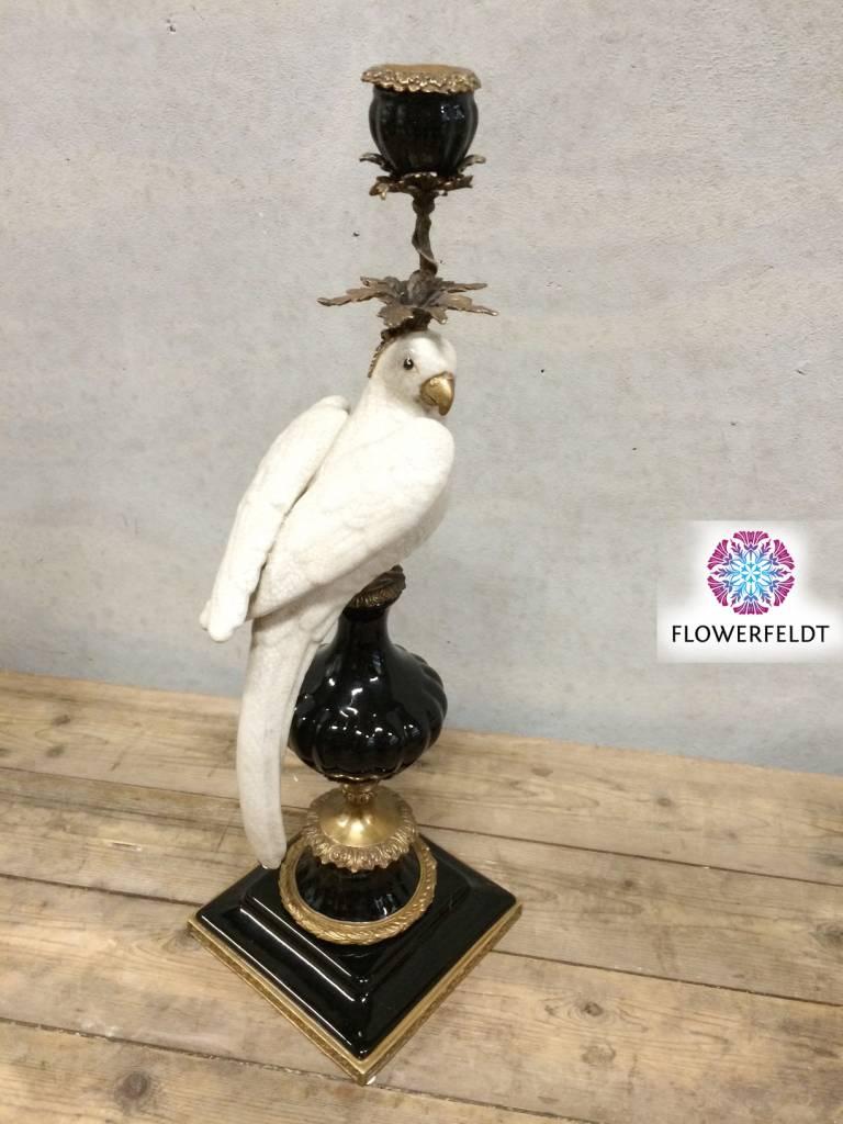 Papegaai kandelaar zwart wit - H48 cm