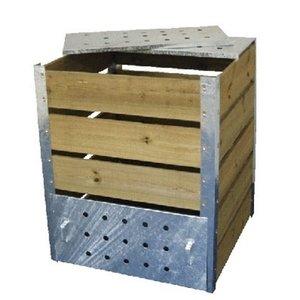 De Wiltfang Compostbak zink met hout - 470 liter
