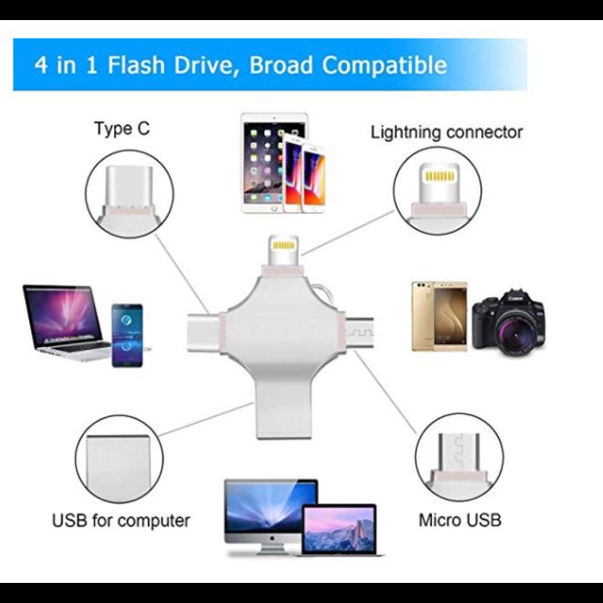 4-in-1 USB opslag van 16GB t/m 512GB