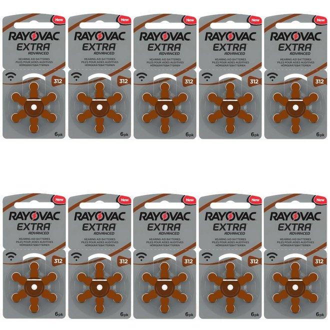 60 Rayovac gehoorapparaat-batterijen