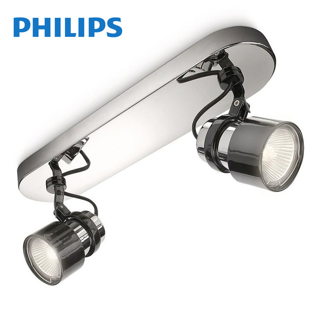 Philips myLiving Finish Spot Chroom Zwart (2 spots)