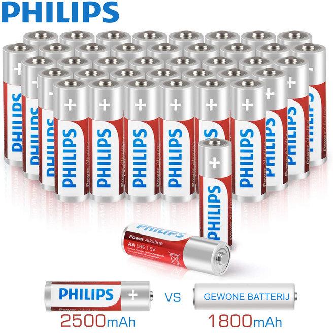 40 Philips Power batterijen - AA of AAA