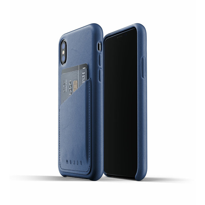 Full Leather Wallet Case voor iPhone Xs - Blue