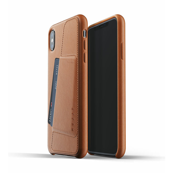 Full Leather Wallet Case voor iPhone Xs Max - Tan