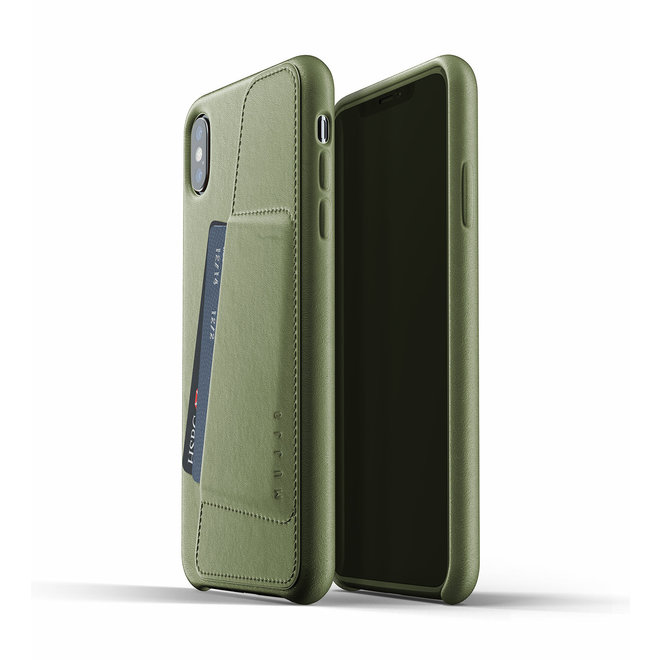 Full Leather Wallet Case voor iPhone Xs Max - Olive