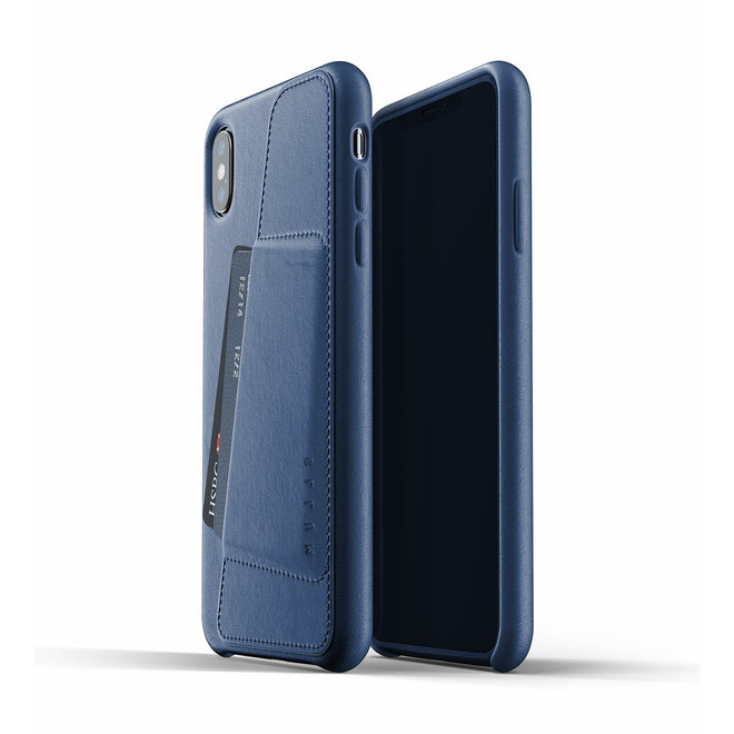 Full Leather Wallet Case voor iPhone Xs Max - Blue