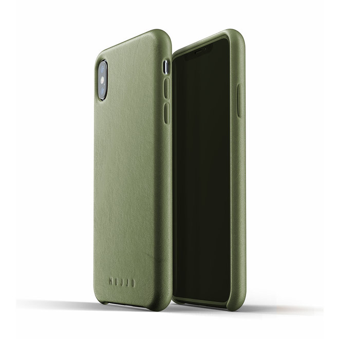 Full Leather Case voor iPhone Xs Max - Olive