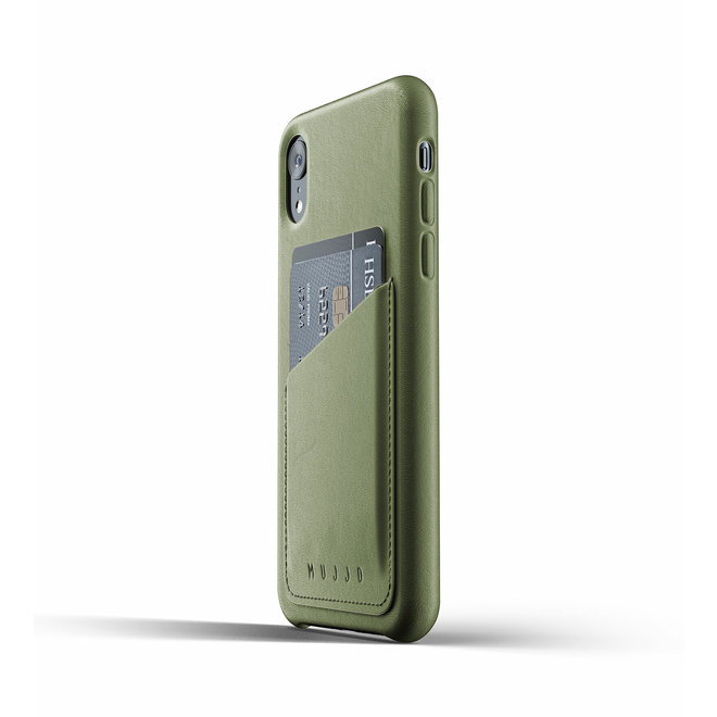 Full Leather Wallet Case voor iPhone Xr - Olive