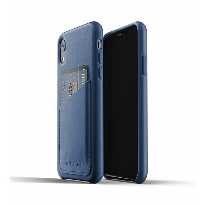 Full Leather Wallet Case voor iPhone Xr - Blue
