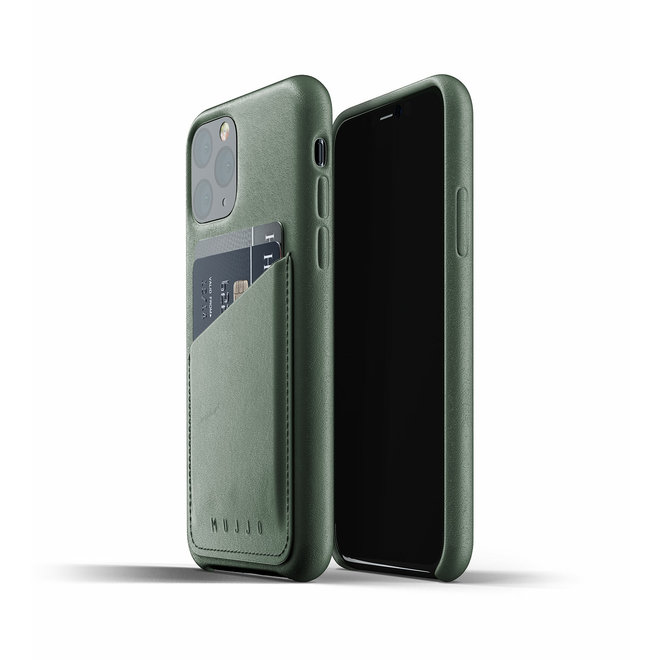 Full Leather Wallet Case voor iPhone 11 Pro - Slate Green