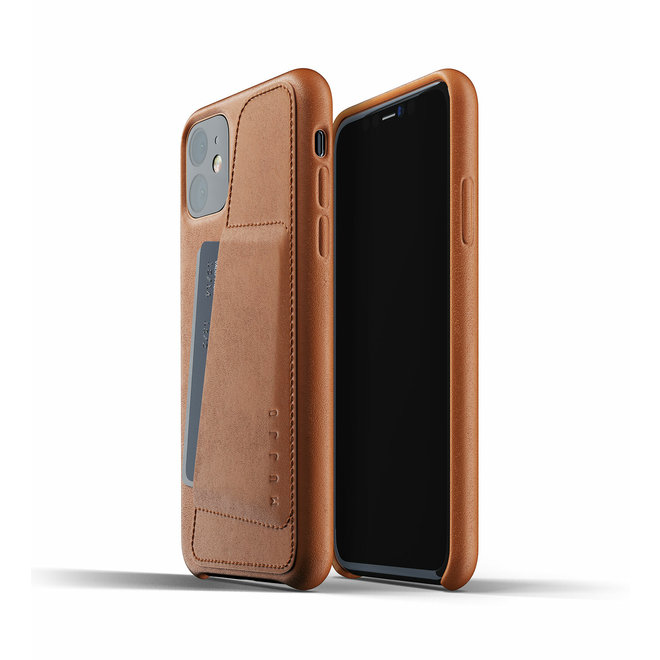 Full Leather Wallet Case voor iPhone 11 - Tan