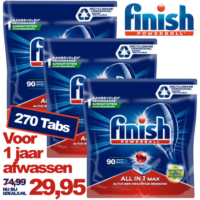 270 afwastabletten Finish All in One Ontvetter
