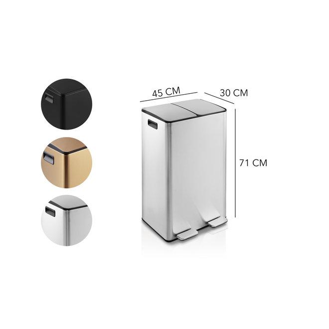 Prachtige dubbele prullenbak 2x30L in mat zwart, zilver of rosé goud