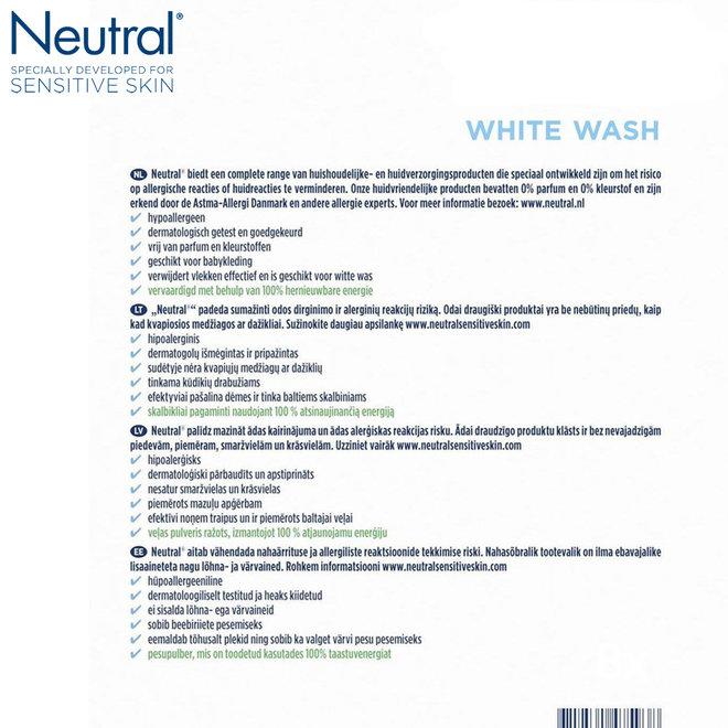 Neutral Parfumvrij Waspoeder Wit - 4 x 3 kg | 180 wasbeurten!