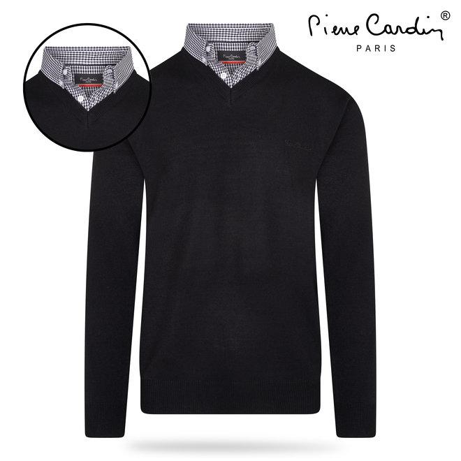 Pierre Cardin V-hals trui met ingewerkte overhemdkraag