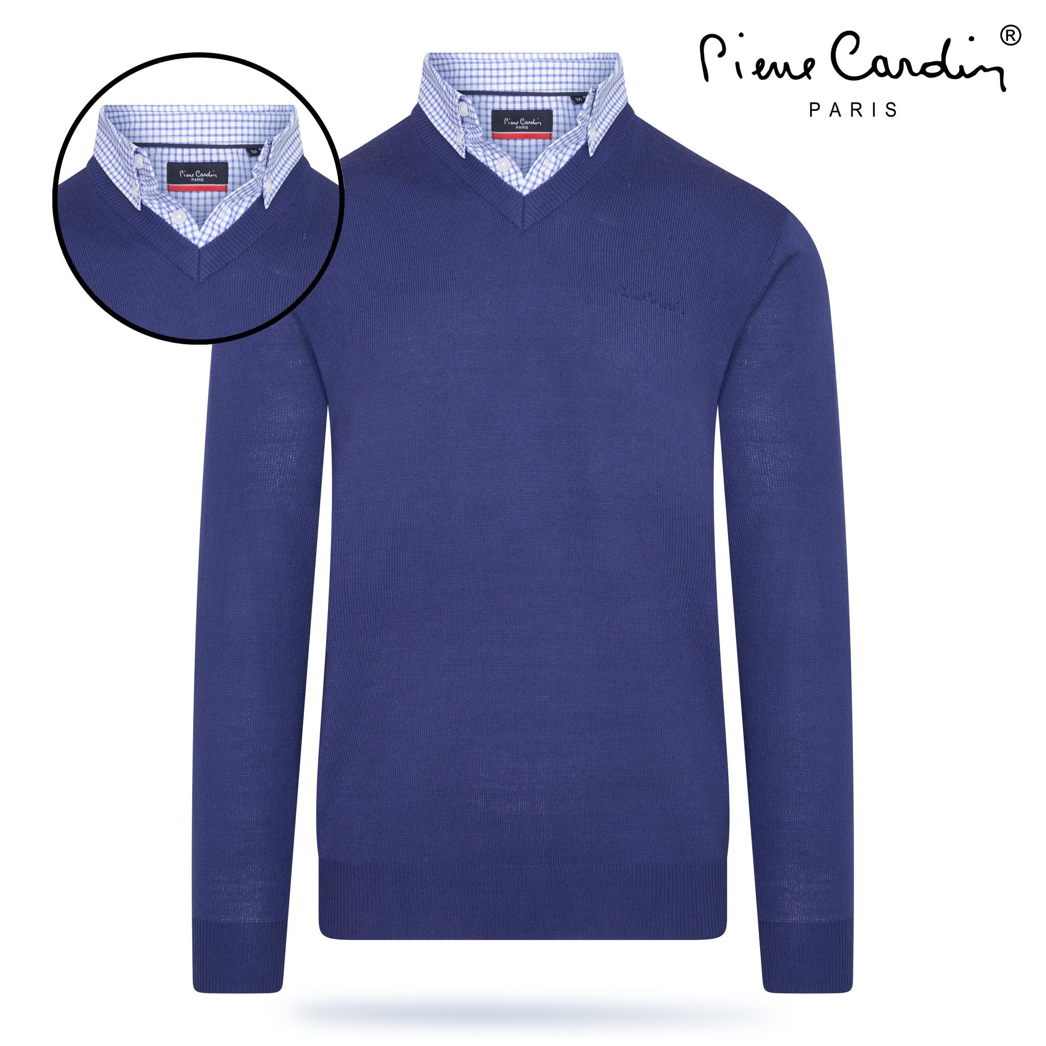 Pierre Cardin Heren V hals trui met overhemdkraag