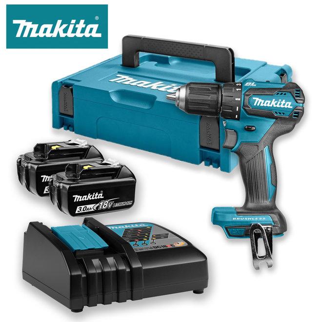 Makita 18V Boor-/schroefmachine in Mbox met twee 3Ah accu's en snellader