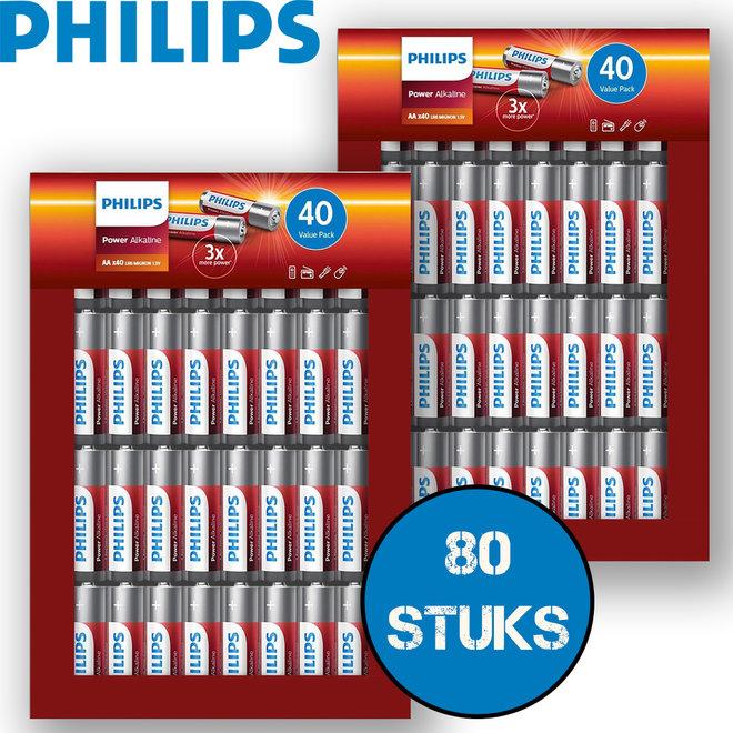 80 Philips Power batterijen - AA of AAA