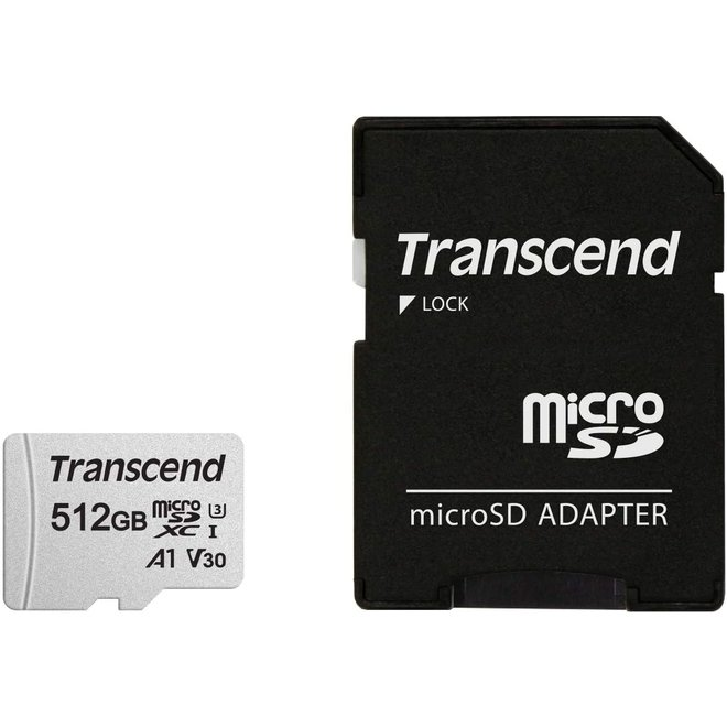 Transcend Micro SD met SD Adapter - 128GB of 512 GB | Razendsnel | Onverwoestbaar | Veilig
